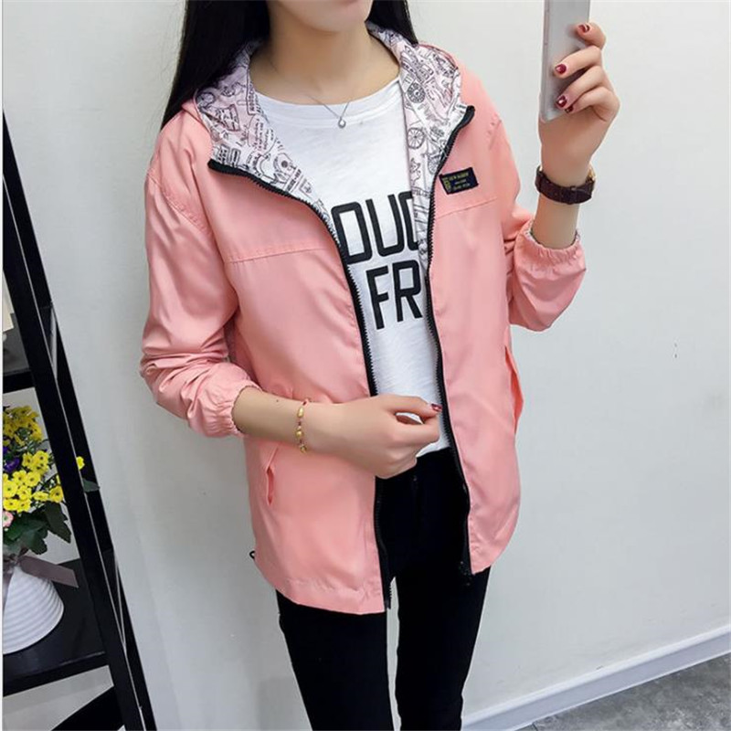 2019 Women's Hooded   Jackets   Causal windbreaker Women   Basic     Jackets   Coats Sweater Zipper Lightweight   Jackets   Bomber Famale C110