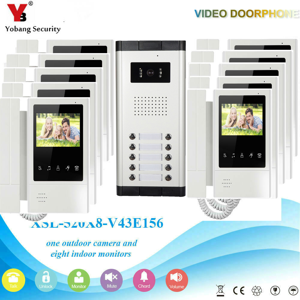 Yobang Security Wired 4 3 inch Monitor Video Doorbell Intercom Door Phone System Outdoor Night Vision