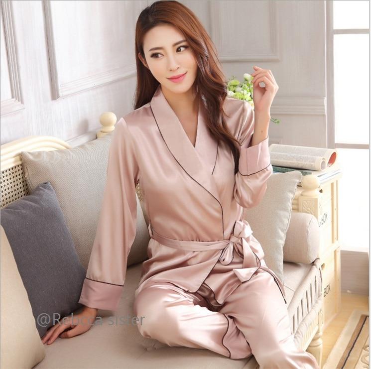 Elegant Women Silk Pajama Sets Satin big size Sleepwear Long Sleeve  night suit Lounge Set Leisure Homewear  verano mujer pijama