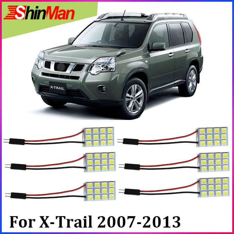 ShinMan 6X Error Free LED luz del coche luz interior LED Kit para Nissan X-Trail T31 LED luz de lectura 2007-2013