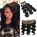 brazilian virgin hair with frontal closure bundle body wave and 13*4 lace frontal ear to ear lace frontal closure with bundles