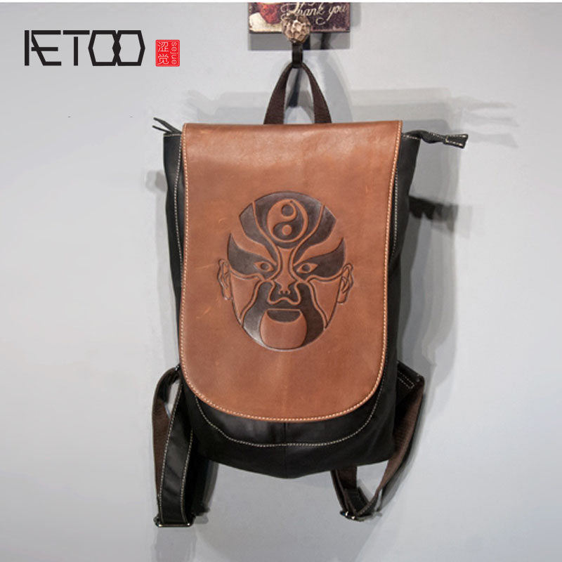 AETOO  Face personality personalized wear-resistant imports of leather men and women leisure backpack shivali singla jasmaninder singh grewal and amardeep singh kang wear behavior of hardfacings