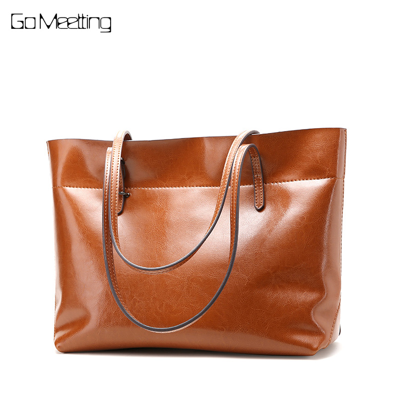 Go Meetting Genuine Leather Handbags Women Tote Female Fashion Designer High Quality Ladies Shoulder Bags Bolsa Feminina Bolsos women genuine leather handbag brown ladies shoulder bags high quallity female tote purses handbags designer brand bolsa feminina