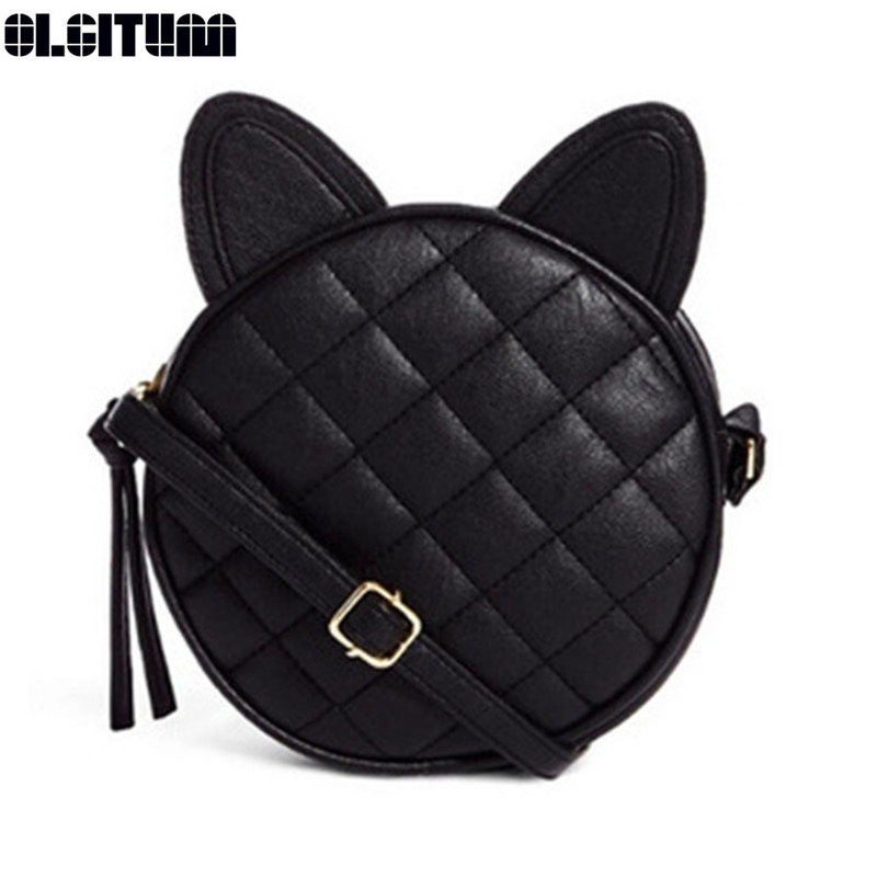 OLGITUM 2017 Hot Sale Women Fashion Cat Ear Rhombus Rivet Messenger Bags One Shoulder Mini Cross