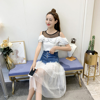 Mesh Patchwork Off Shoulder Two Piece Set Women 2 Piece Skirt Sets Denim Transparent Twinsets Ruffle Denim Suits Woman Clothes