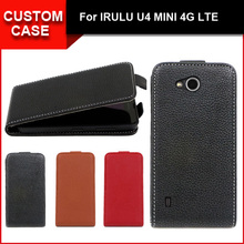 Luxury flip vertical cover bag flip up and down PU Leather Case for IRULU U4 MINI 4G LTE, free gift(China (Mainland))