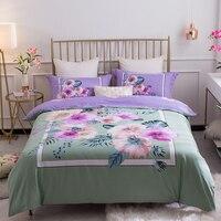 Twilight Flower Garden 100% Cotton Bedding Set Printed Duvet cover set Bed Sheet Fitted Sheet Pillowcases Queen King size 4Pcs
