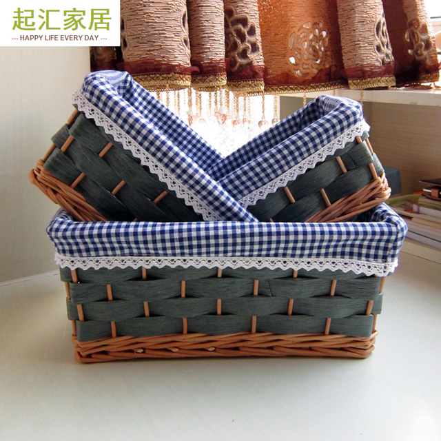 Home Storage Basket Rattan Storage Sasket Book Willow Dirty Clothes Snacks  Sundries Box Rustic Cloth Countryside
