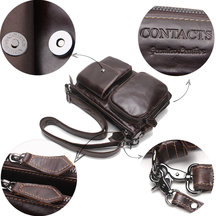 CONTACT'S Vintage Men Messenger Bags High Quality Soft Genuine Leather Large Capacity Travel Men Bags Dollar Price Handsome Man 5