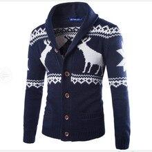 2017 mode Strickjacken Jacquard Männer Pullover Gestrickte Weihnachten Hirsch Mann Lässig Pullover Umlegekragen Langarm M-XXL