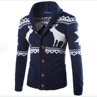 2017 Fashion Cardigans Jacquard Men Sweaters Knitted Christmas Deer Man Casual Sweater Turn Down Collar Long Sleeve M XXL
