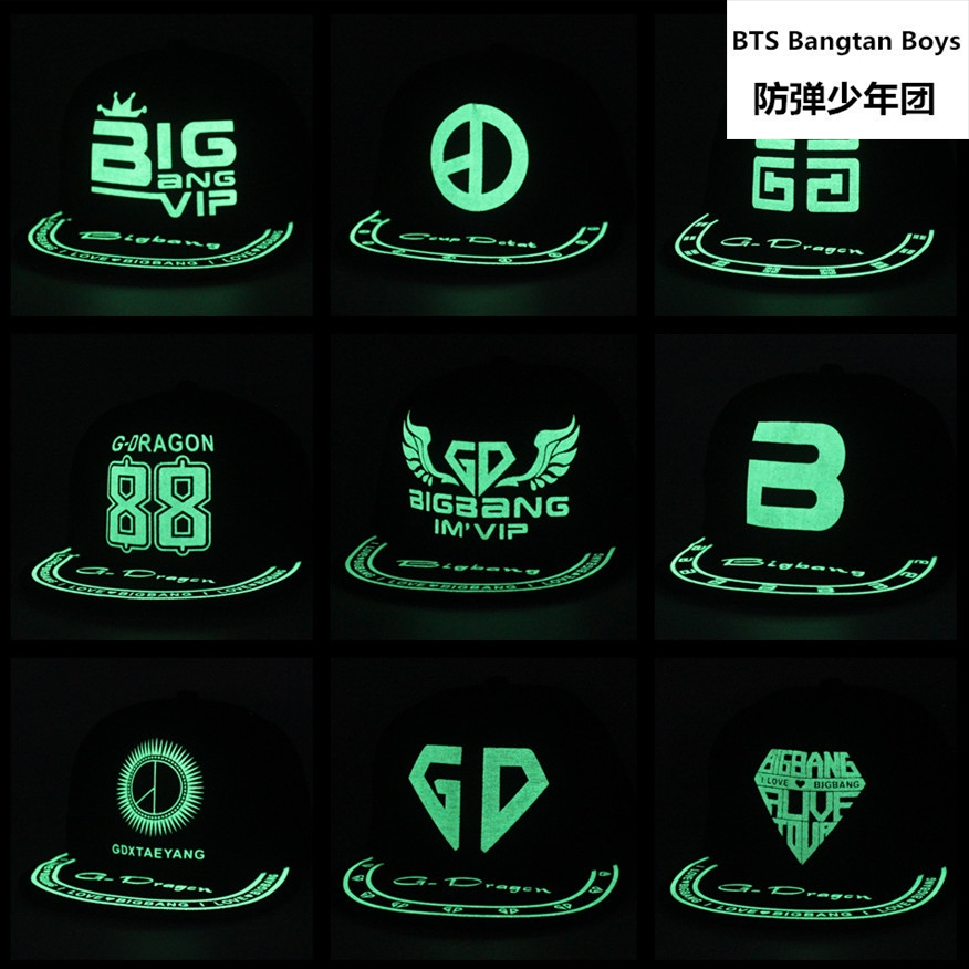 2017 new kpop BIGBANG luminous cap men and women baseball cap cap hat flat fluorescent hip hop Glow hat gorras planas k-pop gd