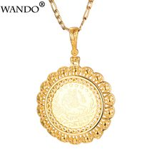 WANDO Turkey Coin Necklace For Men Gold Color Copper Arab Jewelry Turks New Couple Pendant Chain Turkish Ancient Gift 4.7cm(China)