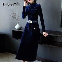 Китайская традиционная одежда для женщин синий вельветовое платье Весна Винтаж ремень тонкий леди вечернее S XL