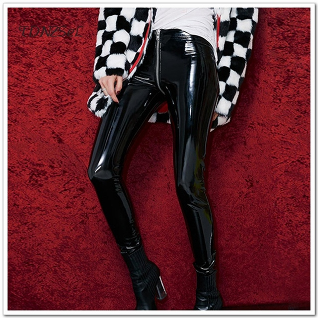 Women Girls Skinny Faux PU Leather Pencil Pants Sexy Zipper Full Open Crotch Erotic Night Club Bodycon Trousers Solid Color Slim