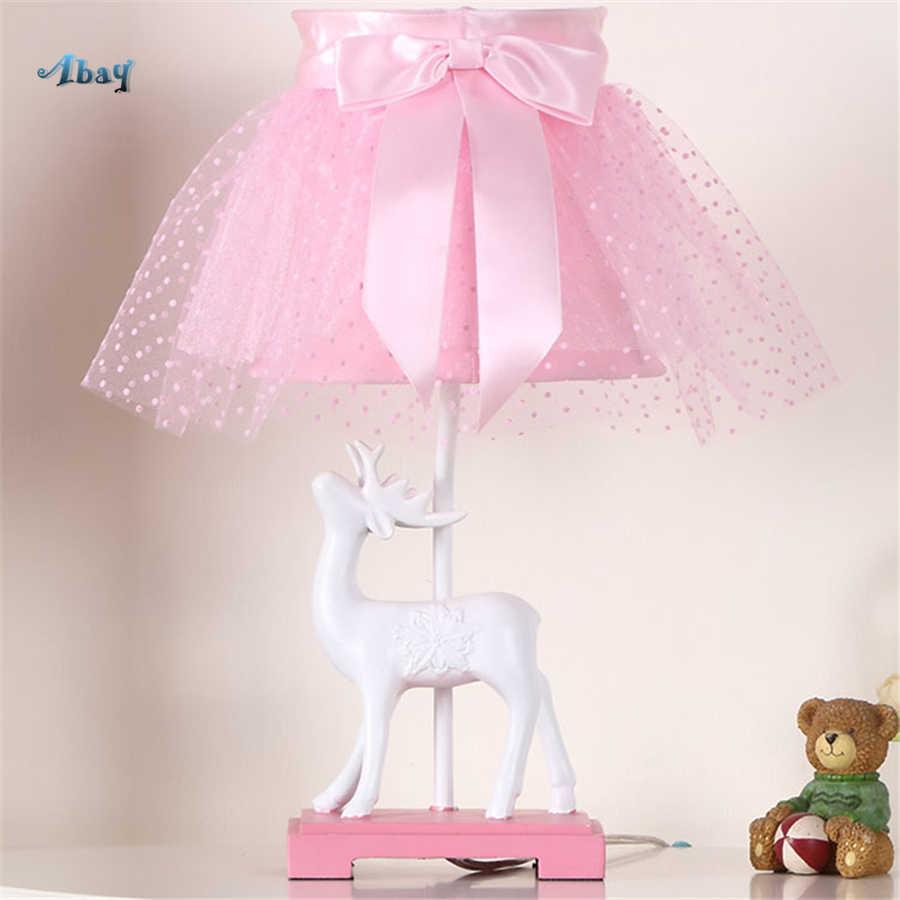 Девочка, спальня, деко, Белый олень, настольная лампа, розовый абажур для спальни, кабинет, кафе, настольная светодиодная лампа, Детская прикроватная лампа, подарок на праздник