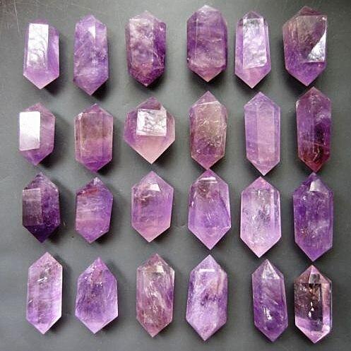 24 pcs Natuurlijke quartz crystal amethyst dual end toverstaf genezing. Huwelijkscadeau. Diamant schilderen - 4