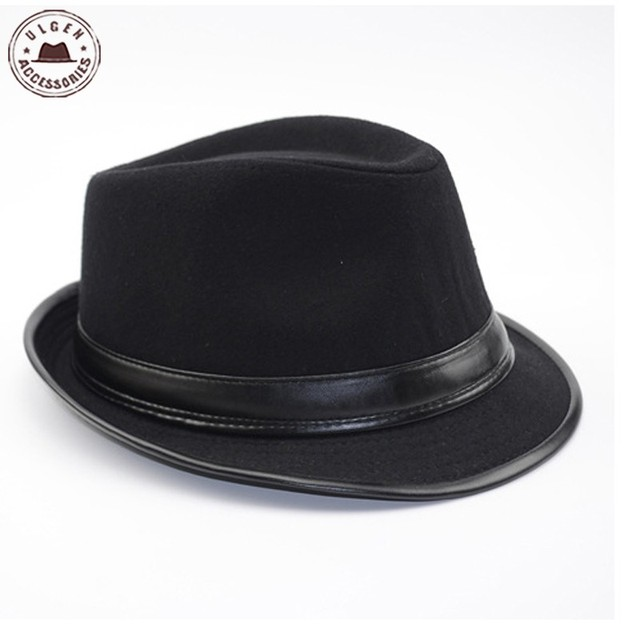 577451c7b1e Cool Men s Fedora Hat Summer Jazz Fedoras Hat For Men classic dancing  winter wool caps gentleman black fedora