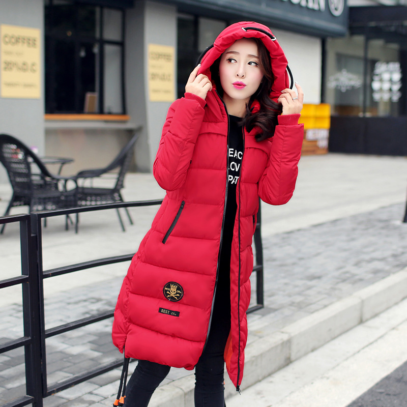 2017 New Fashion Winter Women Coat Lady Cotton Jackets Badge Patch Slim Long Overcoat Casual Parkas
