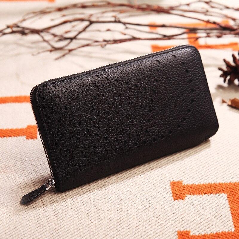 2019 mode évider modèle femmes portefeuilles sacs à main 100% en cuir véritable Long dames portefeuille argent sacs embrayage pièce porte-carte