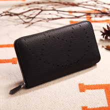 2019 Fashion Hollow Out Pattern Womens Wallets Purses 100% Genuine Leather Long Ladies Wallet Money Bags Clutch Coin Card Holder