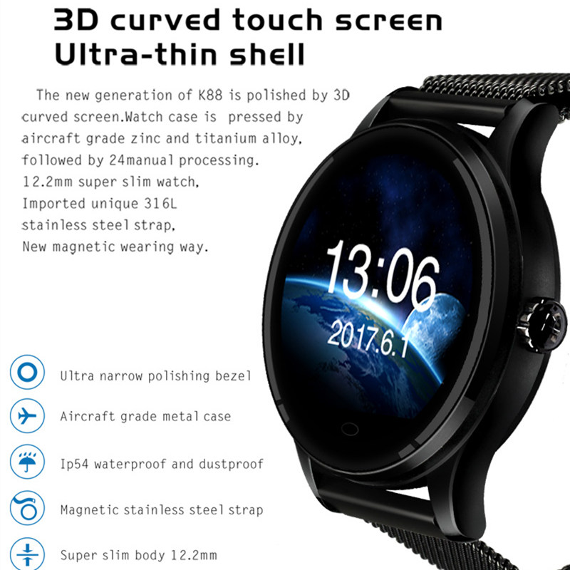 Bluetooth smartwatch K88 podomètre horloge intelligente caméra à distance horloge pour IOS Android téléphones intelligents horloge intelligente