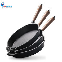 Upspirit Non Stick Skillet Long Handle Cast Iron Frying Pan Grill Pan 22cm/24cm/26cm Pealla Pans Fried Steak Gas Cooker Use