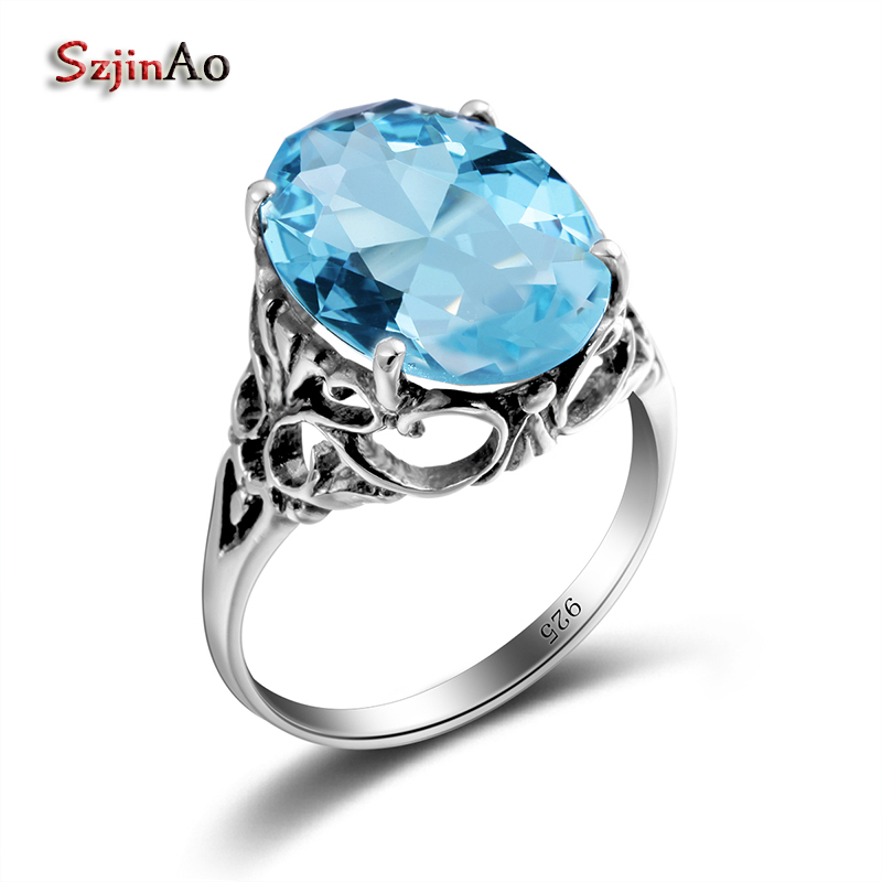 Szjinao Fashion Jewelry Vintage Skull Ring 925 Sterling Silver Personality 3.4ct Sky Aquamarine Rings for Women Wholesale