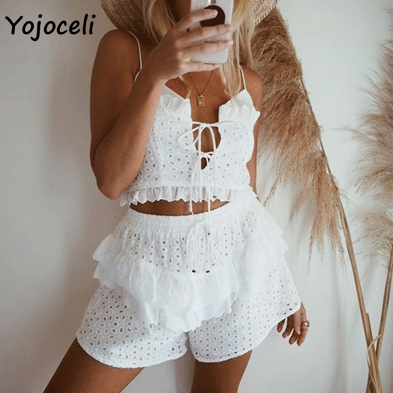 Yojoceli 2019 summer ruffle   jumpsuit   romper white cotton embroidery two piece set romper boho beach lace rompers playsuit