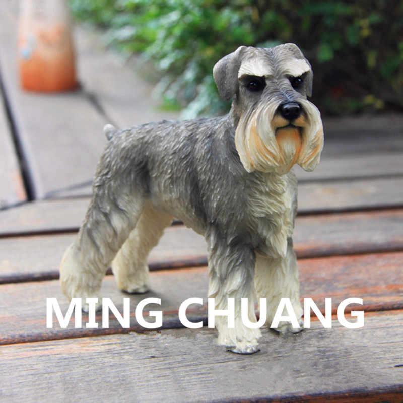 Carino Simulazione Cucciolo Statua Gruppo Terrier Schnauzer Standard Non-sporting cani Busto In Resina Action Figure Da Collezione Model Toy