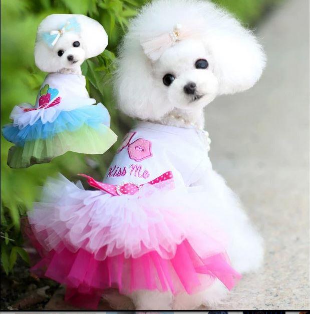 Nové malé štěňátko Pet Dog Cute Bow Tutu šaty krajky Bubble sukně Cat princezna šaty Party šaty oblečení kostýmy XS, S, M, L, XL, XXL  t