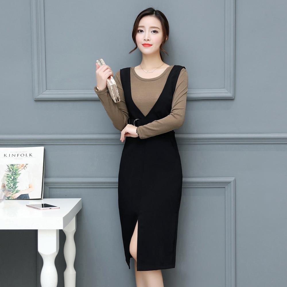 Autumn Elegant Dress Set For Women Long Sleeves Tops High Waist Split Strap Dresses Female Plus Size Vestido de Festa GT1CF16A