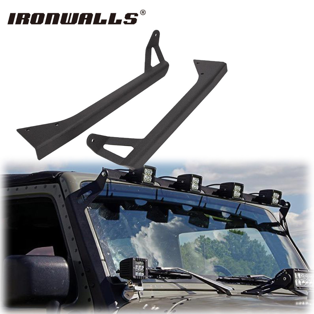 Ironwalls 50 Straight led Light Bar Mounting Brackets Mounts Steel upper Windshield Car Offroad Roof Top For Jeep Wrangler YJ