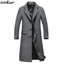 Letskeep Winter Long Wool Overcoat Men Turn-down Collar Blends Peacoat Mens casual Woolen Classic Overcoats High quality, MA432(China)