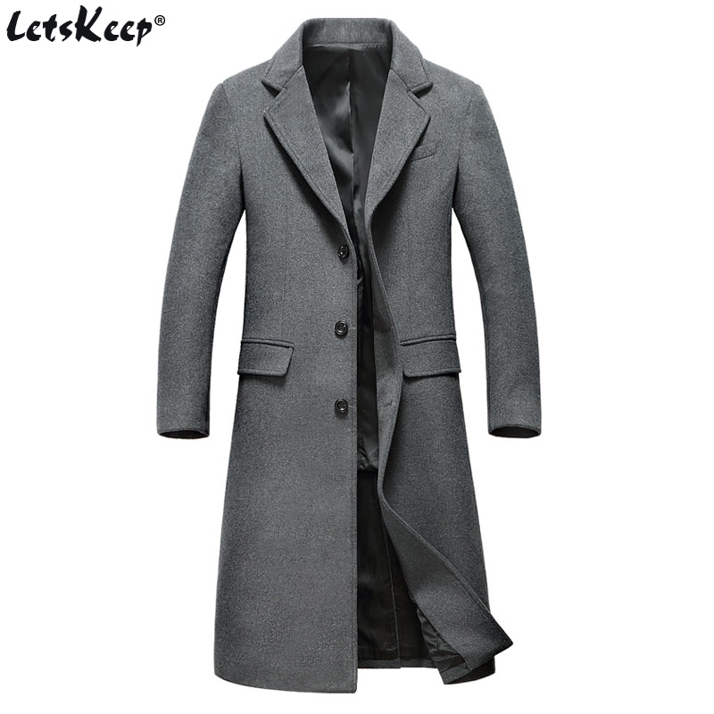 Letskeep Winter Long Wool Overcoat Men Turn-down Collar Blends Peacoat Mens casual Woolen Classic Overcoats MA432 50