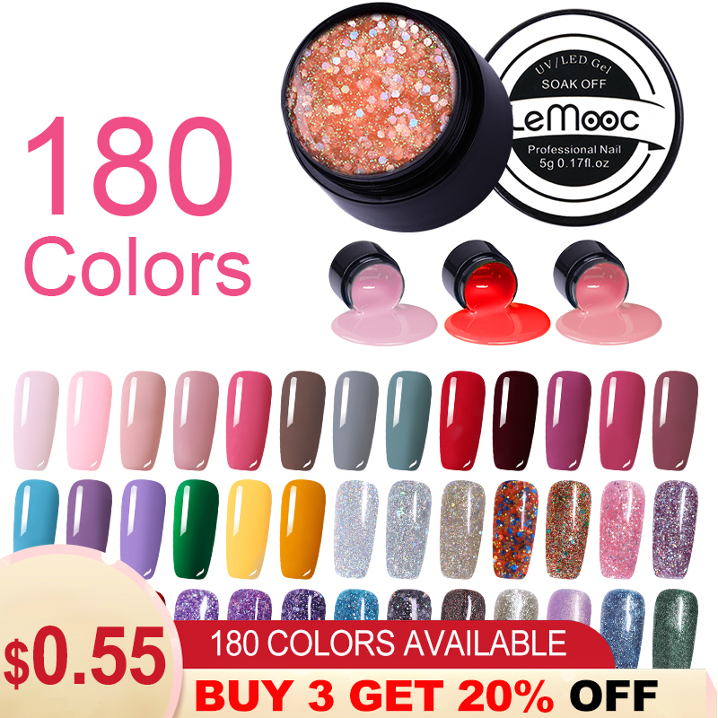 LEMOOC 180 Colors Paint Gel Varnish Lacquer Glitter Sequins Shining UV Gel Nail Polish 5ml Soak Off UV Gel Varnish Manicure