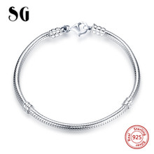 New arrival 100% 925 Sterling Silver 18cm Luxury Snake Chain DIY charms beads Authentic Bracelet Fashion Jewelry making for gift