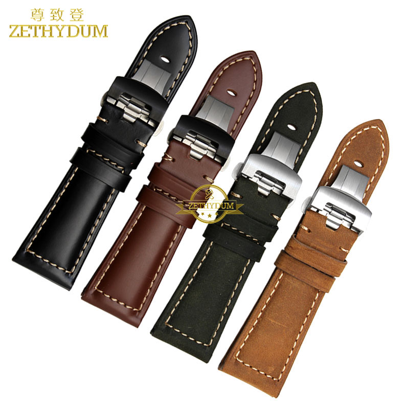 Handmade Genuine leather strap watchband watch bracelet 22mm 24mm 26mm mens wristwatches band retro Style Butterfly buckle