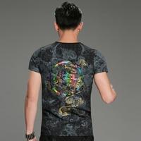 2017 New Luxury Men's Slim Fashion Chinoiserie Male Tops Tees Short Sleeve Stretch Print Black T-shirts Summer Clothing M-4XL