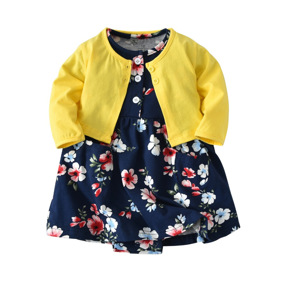 Newborn baby long-sleeved jacket Cardigan shawl + dress 2 piece suit Children's suit spring and autumn new
