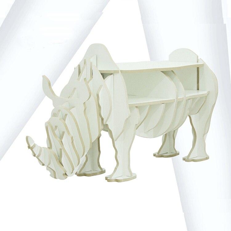 1 ensemble 47*19 pouces MDF bricolage assembler en bois rhinocéros Table bibliothèque armoire maison meubles - 4