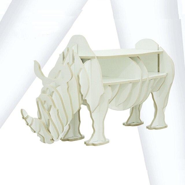 1 set 47*19 Inch MDF DIY Assemble Wooden Rhinoceros Table Bookshelf Cabinet House Furniture