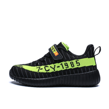 Hook & Loop Kids Running Shoes Breathable Mesh Ultra Light Weight Boys Girls Sneakers Striped Letters Children Casual