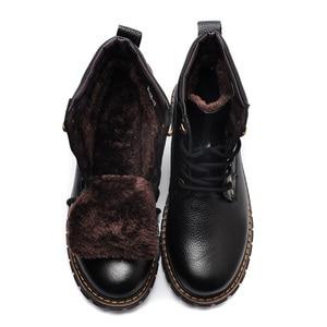Image 4 - REETENE New Fashion Genuine Leather Men Ankle Boots Warm Winter Snow Warm Mens Boot Lace Up Plush Men Shoes Plus Size 39 50