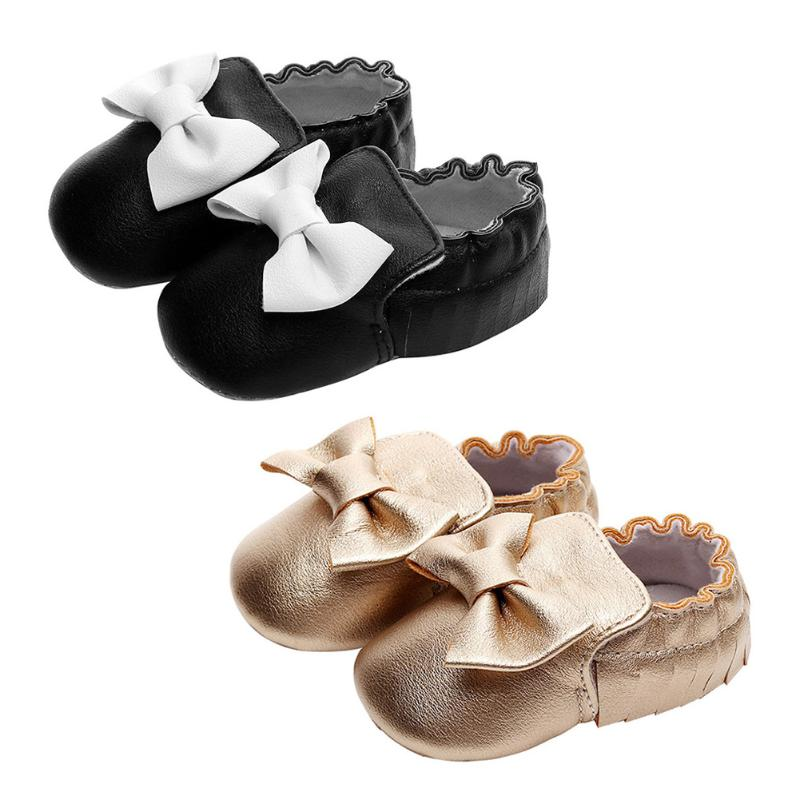 Fashion PU Leather Baby Girls First Walkers Spring Autumn Shoes Bowknot Tassel Decor Prewalker Comfortable Soft Sole Baby Shoes