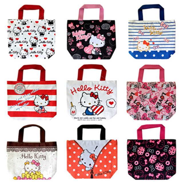 6f67a2935 Cute Cartoon Hello Kitty Canvas Small Tote Handbag Kids Lunch Bag for Women  Girls School Lunch Box Bags Picnic Food Bag Zipper