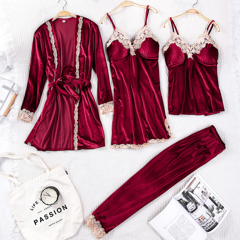 Autumn New Women Velvet Robe Set Casual 4PCS Sleepwear Lace Kimono Bathrobe Gown Sexy Bride Wedding Nightgown M L XL Home Wear