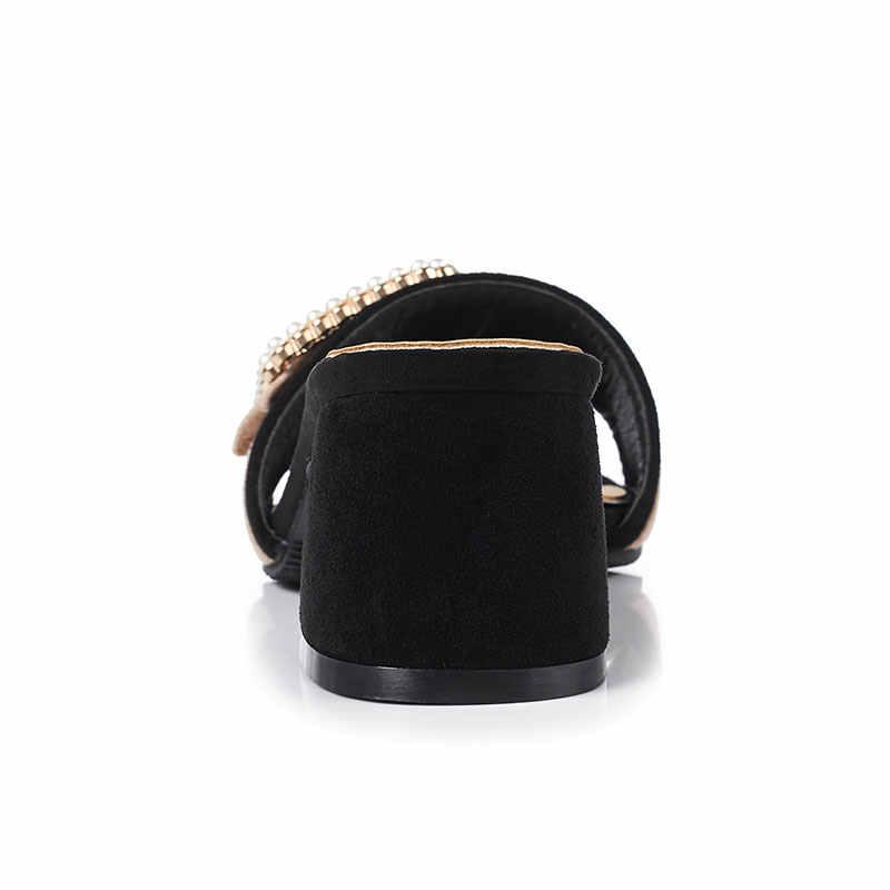 Fanyuan ファッション混合色フロックハイヒール夏の真珠ベルトバックルスライド固体外ピープトウシューズレディーススリッパ女性の靴