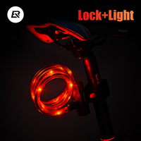 ROCKBROS Bicycle Light Cable Lock USB Rechargeable High Toughness Bike Wire Lock Anti Theft Waterproof Flash/Normal/Low Light