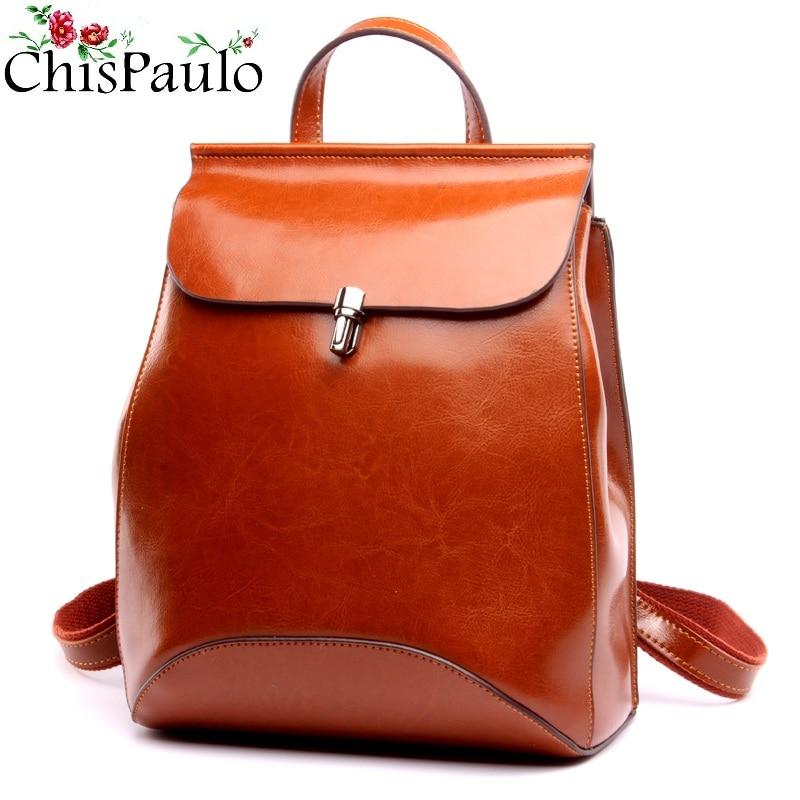 CHISPAULO 2019 sac à dos en cuir véritable pour femme sac à dos en cuir de vache à l'huile sac à dos vintage pour femme sac à bandoulière décontracté T315